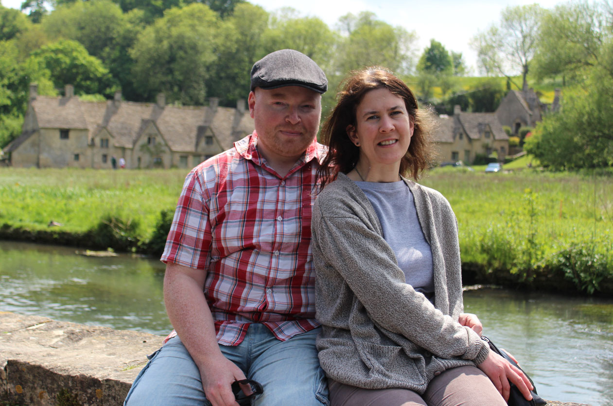 John and Emma at Bibury in the Cotswolds, May 2013
