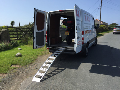 John Chivers' Zero DSR electric motorcycle arriving at Trevescan, near Land's End