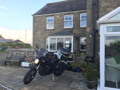 John Chivers' Zero DSR electric motorcycle at Weavers B&B, Trevescan, on morning of departure.