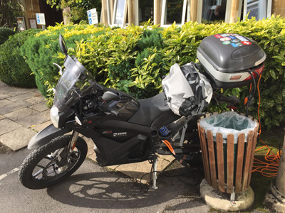 John Chivers' Zero DSR electric motorcycle charging at Sidcot Arms, Winscombe.