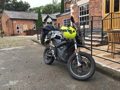 John Chivers' Zero DSR electric motorcycle charging at The Partridge, Stretton.