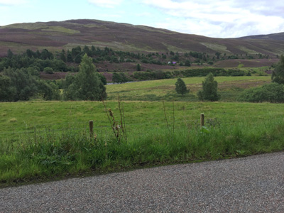 Outside Crubenmore Lodge on General Wade's Military Road (A889).
