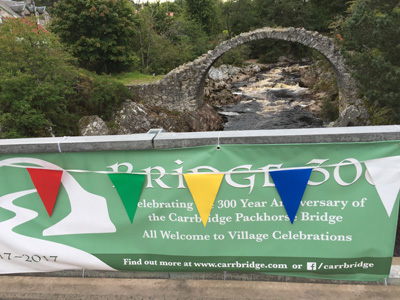 The packhorse bridge in Carrbridge, celebrating its 300th anniversary in 2017.