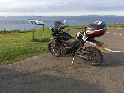 John Chivers' Zero DSR electric motorcycle at Duncansby Head Lighthouse.