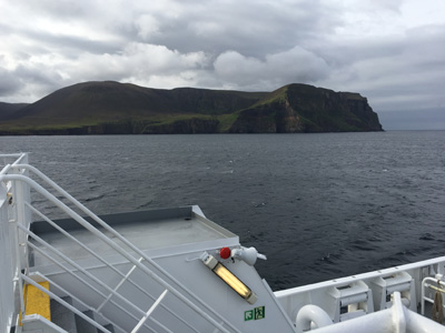 Rounding Hoy on the Scrabster to Stromness ferry.