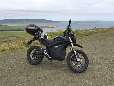 John Chivers' Zero DSR electric motorcycle at Hammars Hill wind farm, Orkney.