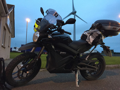 John Chivers' Zero DSR electric motorcycle at Hatston ferry terminal, Kirkwall, Orkney.