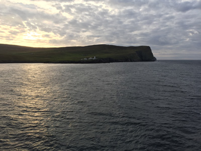 Passing Bressay on the approach to Lerwick, Shetland.