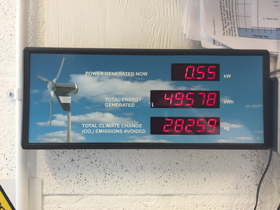 Display on wind turbine generation at Pure Energy Centre, Unst, Shetland.