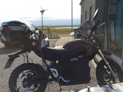 John Chivers' Zero DSR electric motorcycle charging at the Pure Energy Centre, Unst, Shetland.